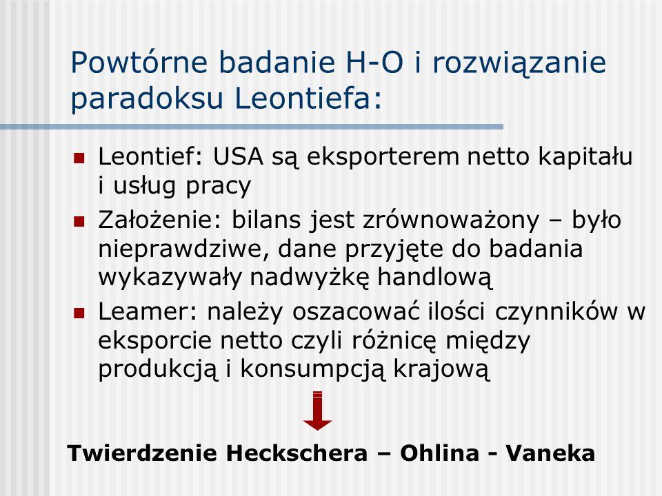 Powtórne badanie H-O i rozwiązanie paradoksu Leontiefa: Leontief: USA są eksporterem netto kapitału i usług pracy Założenie: bilans jest zrównoważony
