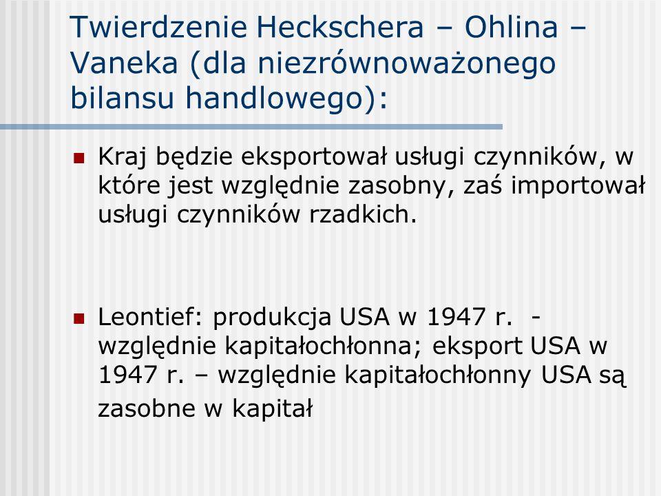 Twierdzenie Heckschera – Ohlina – Vaneka (dla niezrównoważonego bilansu handlowego): Kraj będzie eksportował usługi czynników, w które jest względnie