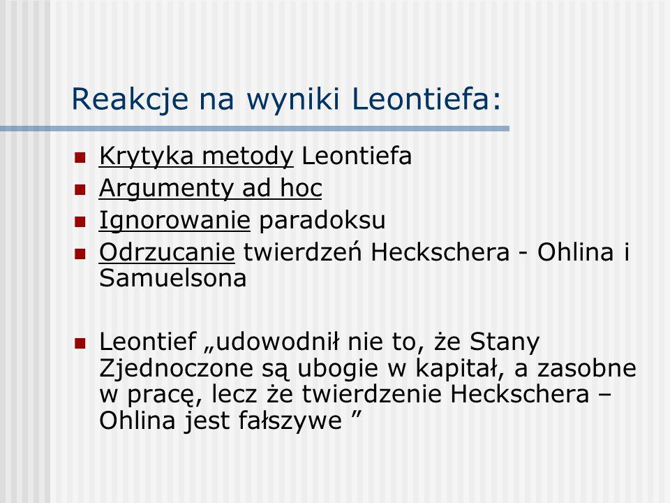 Reakcje na wyniki Leontiefa: Krytyka metody Leontiefa Argumenty ad hoc Ignorowanie paradoksu Odrzucanie twierdzeń Heckschera - Ohlina i Samuelsona Leo
