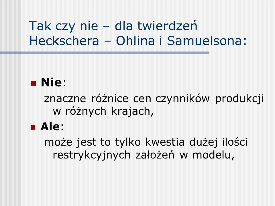 Tak czy nie – dla twierdzeń Heckschera – Ohlina i Samuelsona: Nie: znaczne różnice cen czynników produkcji w różnych krajach, Ale: może jest to tylko
