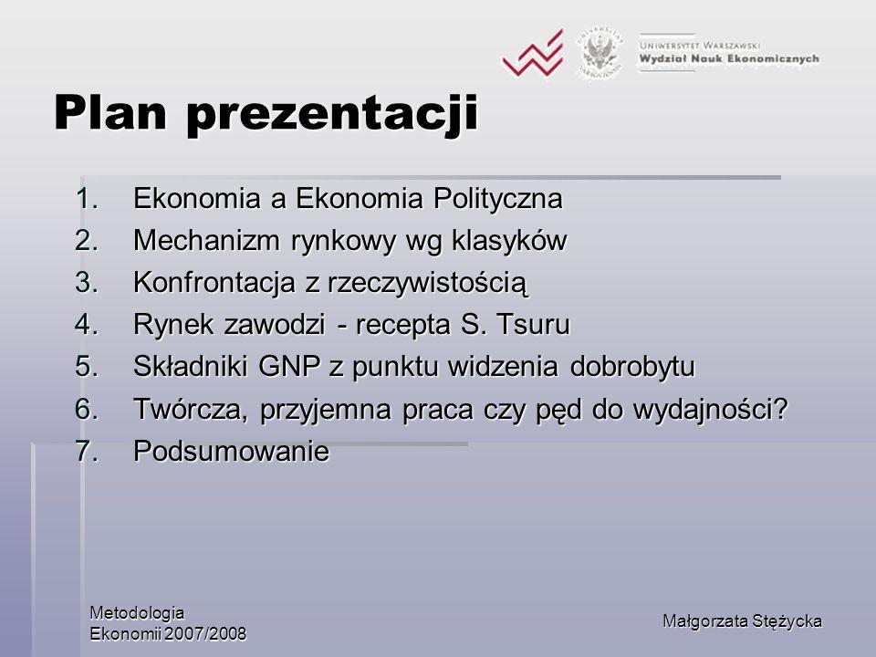 Metodologia Ekonomii 2007/2008 Małgorzata Stężycka Plan prezentacji 1.Ekonomia a Ekonomia Polityczna 2.Mechanizm rynkowy wg klasyków 3.Konfrontacja z