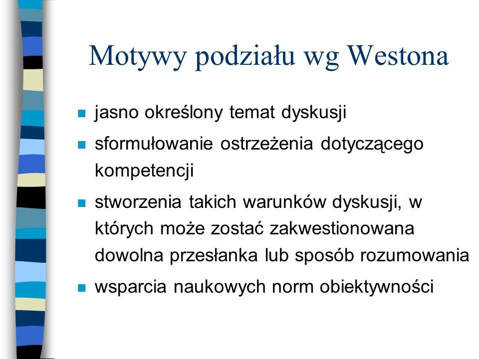 Motywy podziału wg Westona n jasno określony temat dyskusji n sformułowanie ostrzeżenia dotyczącego kompetencji n stworzenia takich warunków dyskusji, w których może zostać zakwestionowana dowolna przesłanka lub sposób rozumowania n wsparcia naukowych norm obiektywności