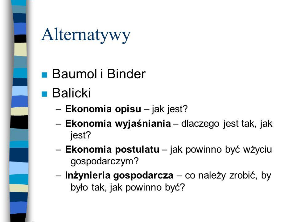 Alternatywy n Baumol i Binder n Balicki –Ekonomia opisu – jak jest? –Ekonomia wyjaśniania – dlaczego jest tak, jak jest? –Ekonomia postulatu – jak pow