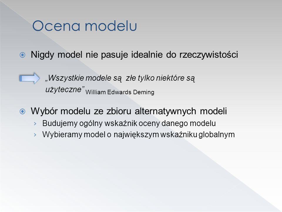Nigdy model nie pasuje idealnie do rzeczywistości Wszystkie modele są złe tylko niektóre są użyteczne William Edwards Deming Wybór modelu ze zbioru al