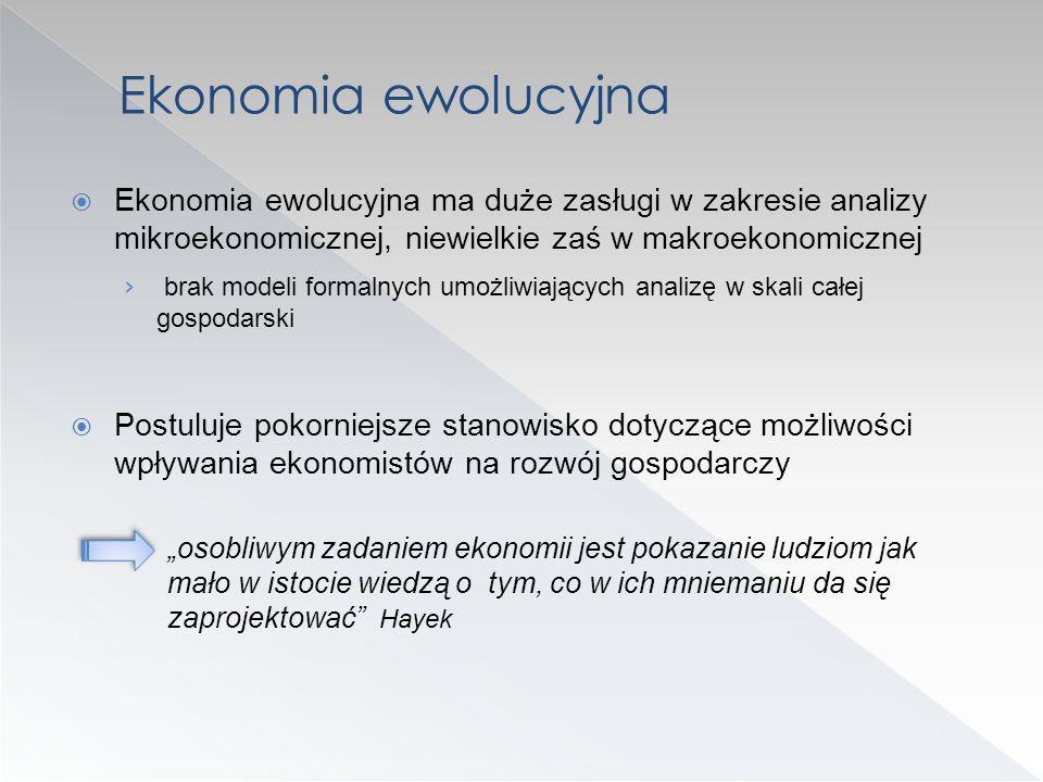 Ekonomia ewolucyjna ma duże zasługi w zakresie analizy mikroekonomicznej, niewielkie zaś w makroekonomicznej brak modeli formalnych umożliwiających an