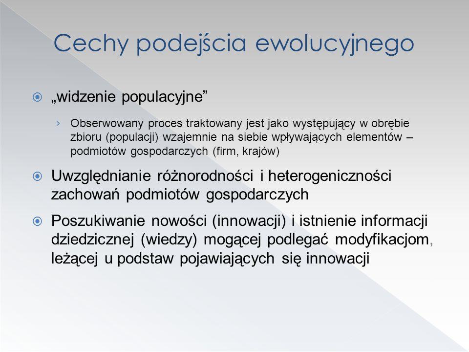 widzenie populacyjne Obserwowany proces traktowany jest jako występujący w obrębie zbioru (populacji) wzajemnie na siebie wpływających elementów – pod