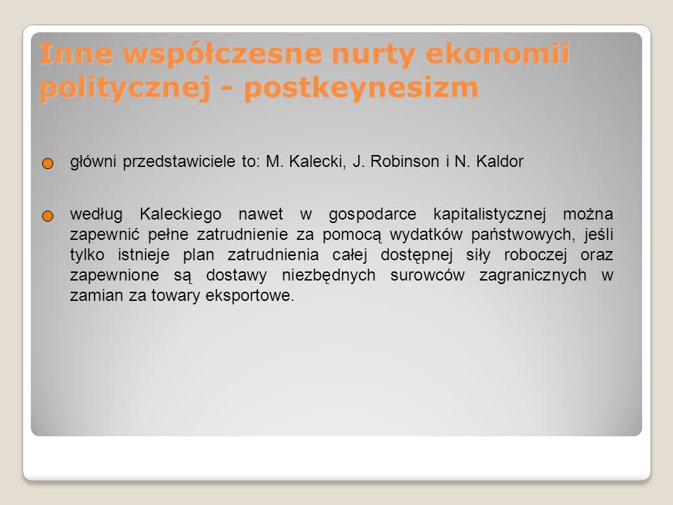 Inne współczesne nurty ekonomii politycznej - postkeynesizm główni przedstawiciele to: M. Kalecki, J. Robinson i N. Kaldor według Kaleckiego nawet w g