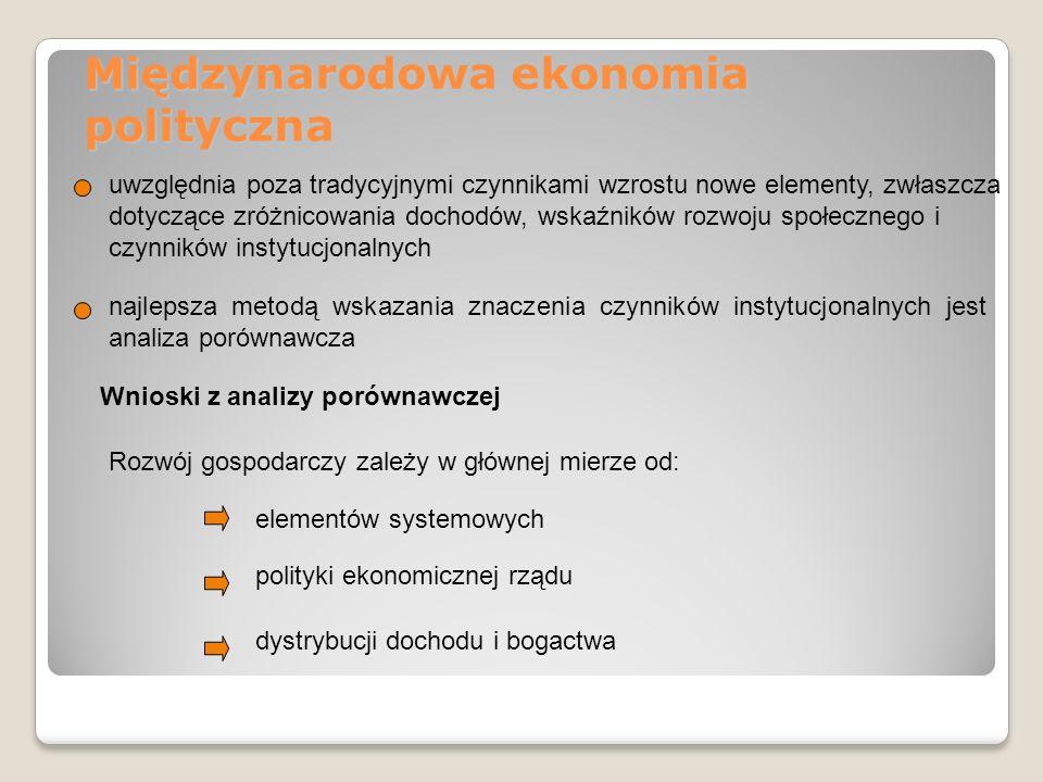 Międzynarodowa ekonomia polityczna uwzględnia poza tradycyjnymi czynnikami wzrostu nowe elementy, zwłaszcza dotyczące zróżnicowania dochodów, wskaźnik