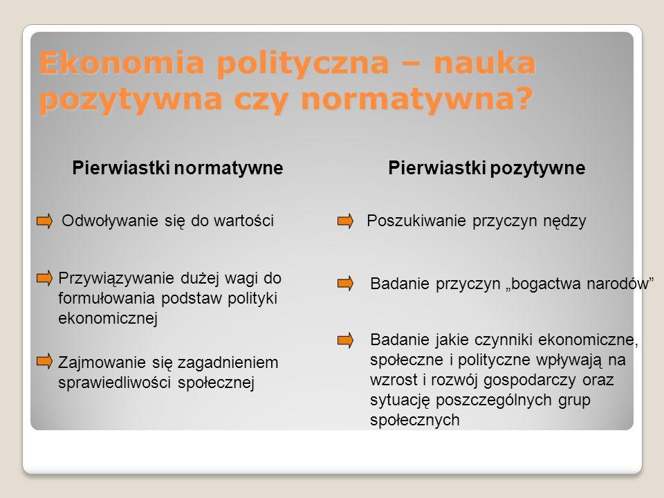 Ekonomia polityczna – nauka pozytywna czy normatywna? Pierwiastki normatywne Odwoływanie się do wartości Przywiązywanie dużej wagi do formułowania pod