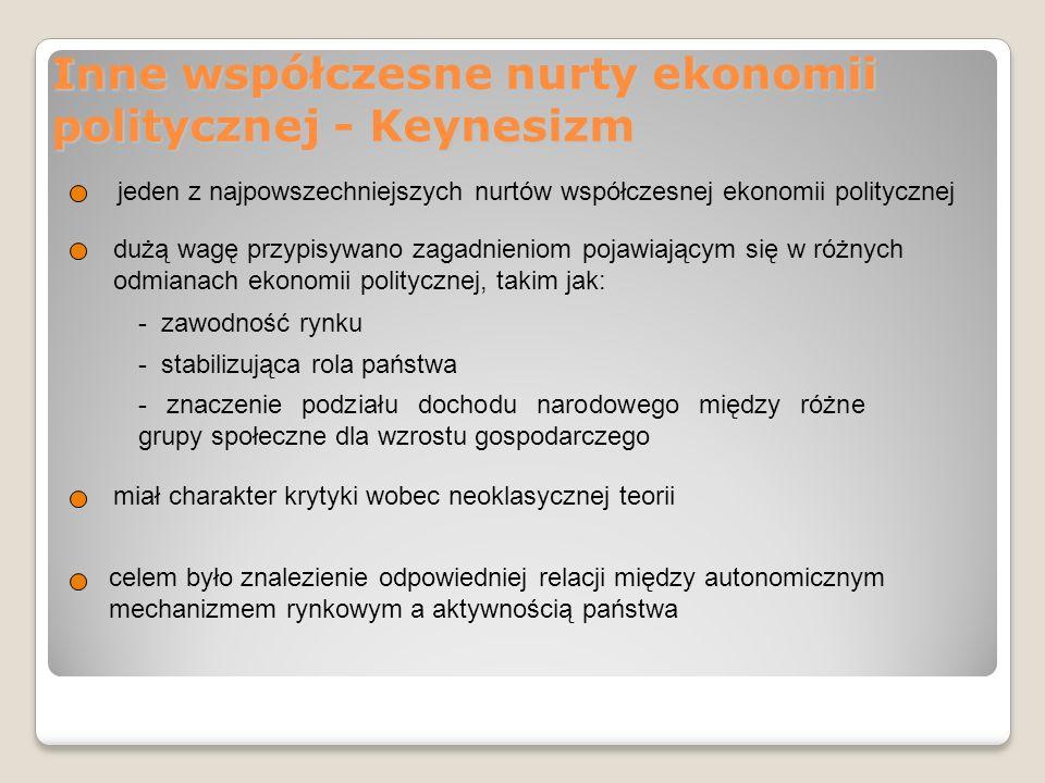 Inne współczesne nurty ekonomii politycznej - postkeynesizm główni przedstawiciele to: M.