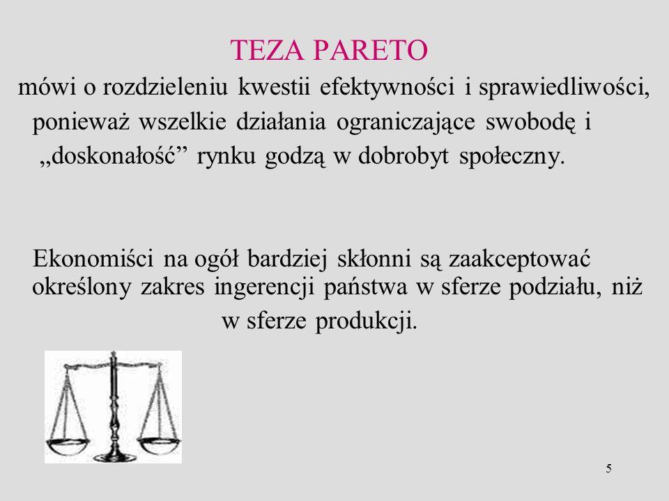 5 TEZA PARETO mówi o rozdzieleniu kwestii efektywności i sprawiedliwości, ponieważ wszelkie działania ograniczające swobodę i doskonałość rynku godzą