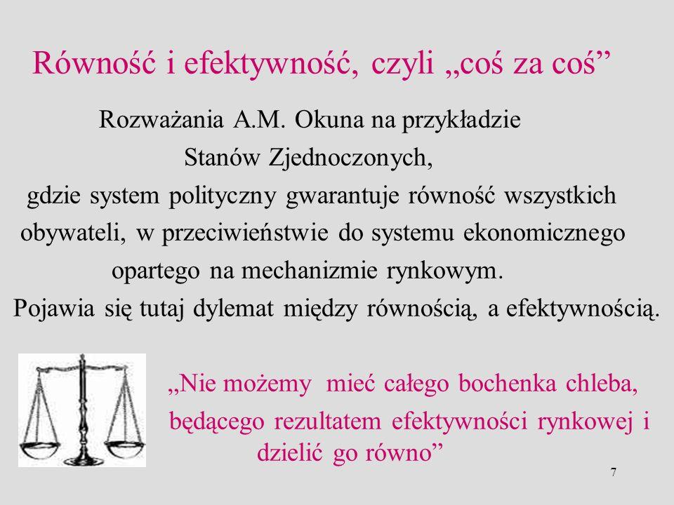 7 Równość i efektywność, czyli coś za coś Rozważania A.M. Okuna na przykładzie Stanów Zjednoczonych, gdzie system polityczny gwarantuje równość wszyst