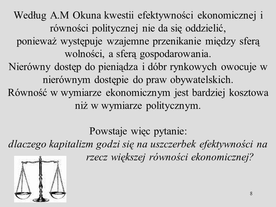 8 Według A.M Okuna kwestii efektywności ekonomicznej i równości politycznej nie da się oddzielić, ponieważ występuje wzajemne przenikanie między sferą