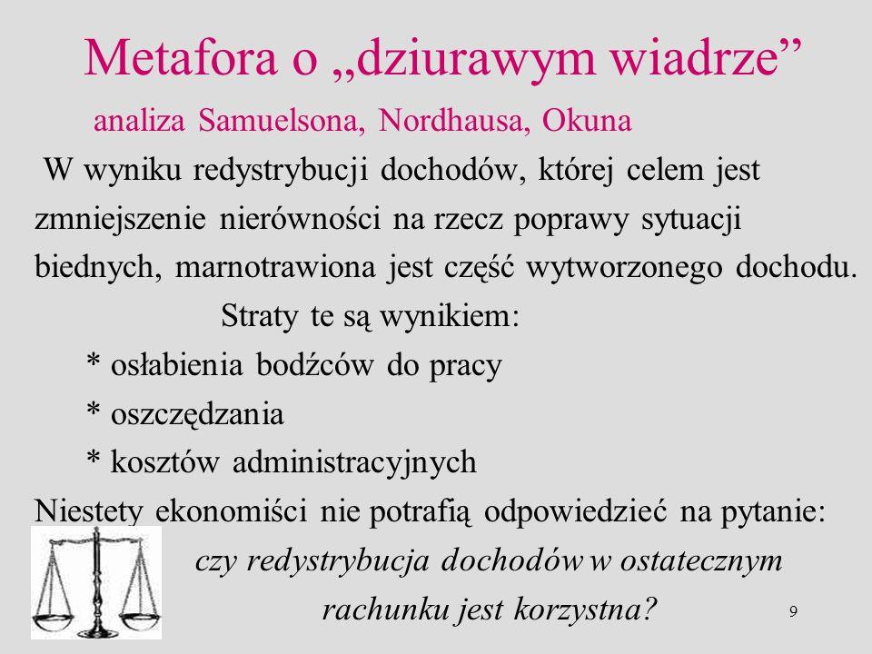 9 Metafora o dziurawym wiadrze analiza Samuelsona, Nordhausa, Okuna W wyniku redystrybucji dochodów, której celem jest zmniejszenie nierówności na rze