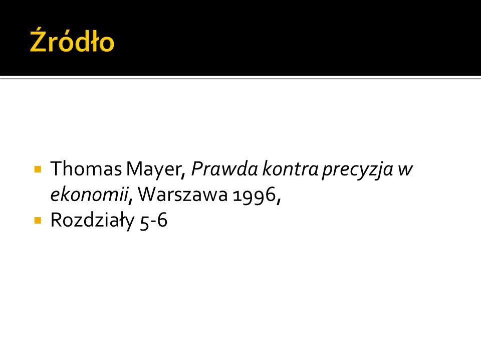 Thomas Mayer, Prawda kontra precyzja w ekonomii, Warszawa 1996, Rozdziały 5-6