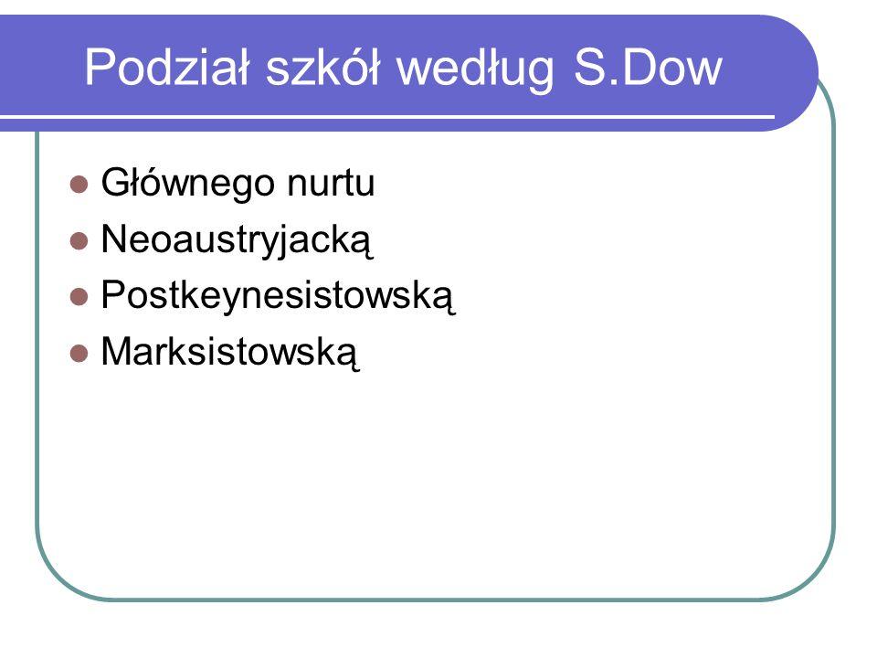 Podział szkół według S.Dow Głównego nurtu Neoaustryjacką Postkeynesistowską Marksistowską