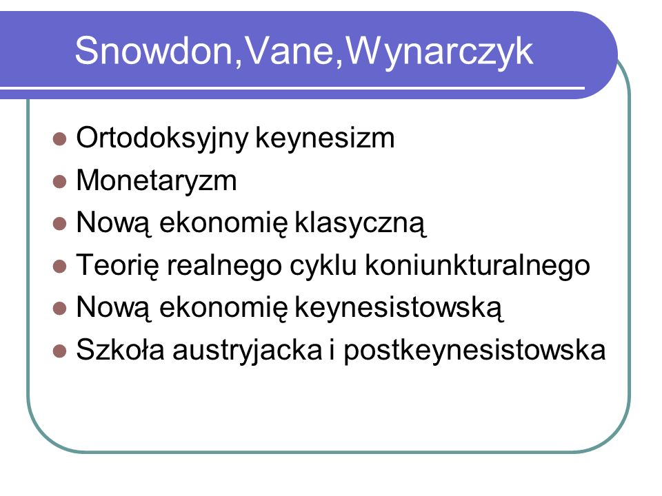Snowdon,Vane,Wynarczyk Ortodoksyjny keynesizm Monetaryzm Nową ekonomię klasyczną Teorię realnego cyklu koniunkturalnego Nową ekonomię keynesistowską Szkoła austryjacka i postkeynesistowska