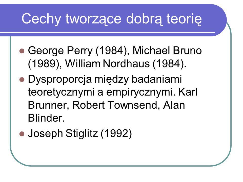 Cechy tworzące dobrą teorię George Perry (1984), Michael Bruno (1989), William Nordhaus (1984).