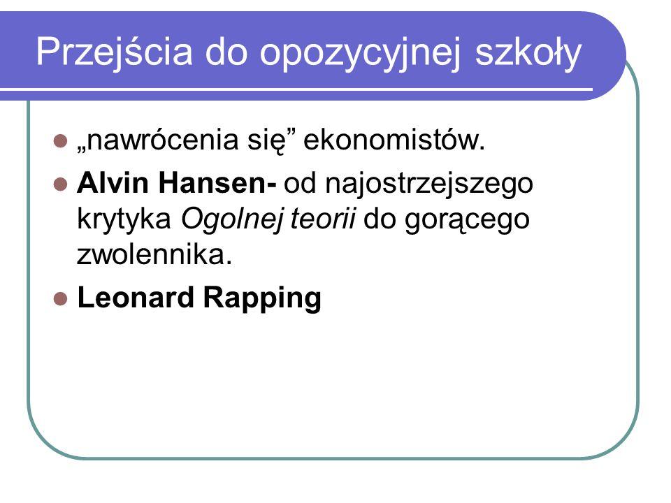 Przejścia do opozycyjnej szkoły nawrócenia się ekonomistów. Alvin Hansen- od najostrzejszego krytyka Ogolnej teorii do gorącego zwolennika. Leonard Ra