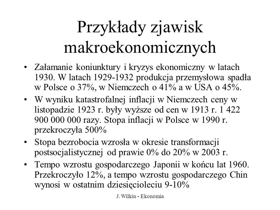 J. Wilkin - Ekonomia Przykłady zjawisk makroekonomicznych Załamanie koniunktury i kryzys ekonomiczny w latach 1930. W latach 1929-1932 produkcja przem
