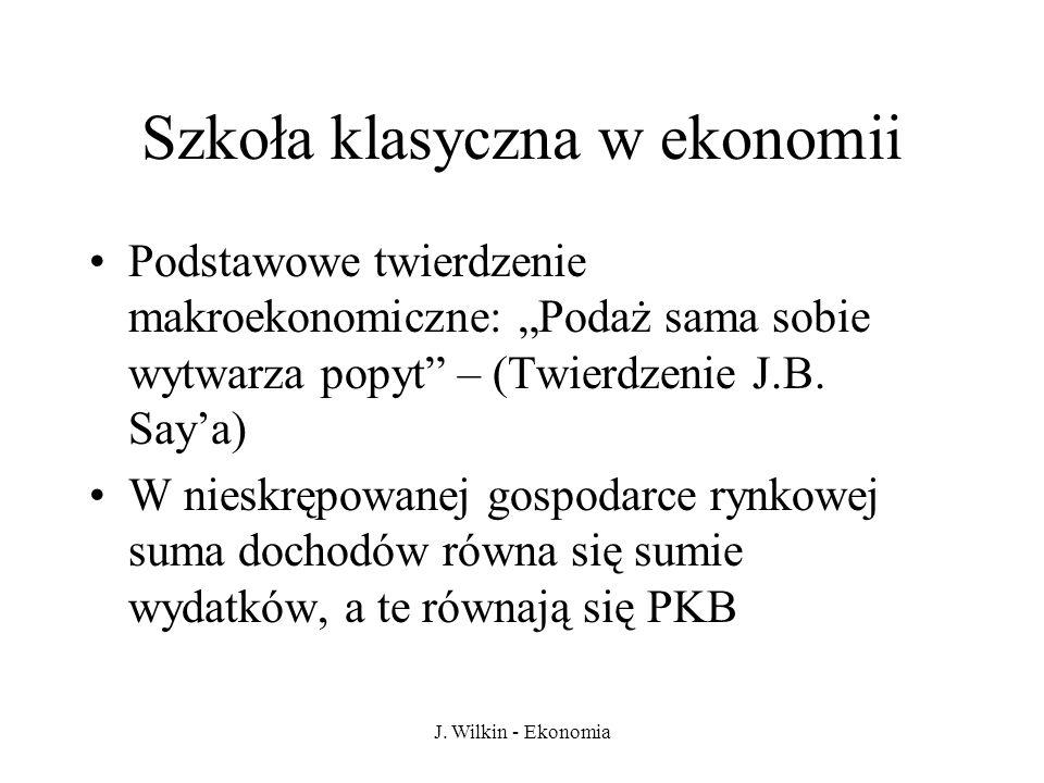 J. Wilkin - Ekonomia Szkoła klasyczna w ekonomii Podstawowe twierdzenie makroekonomiczne: Podaż sama sobie wytwarza popyt – (Twierdzenie J.B. Saya) W