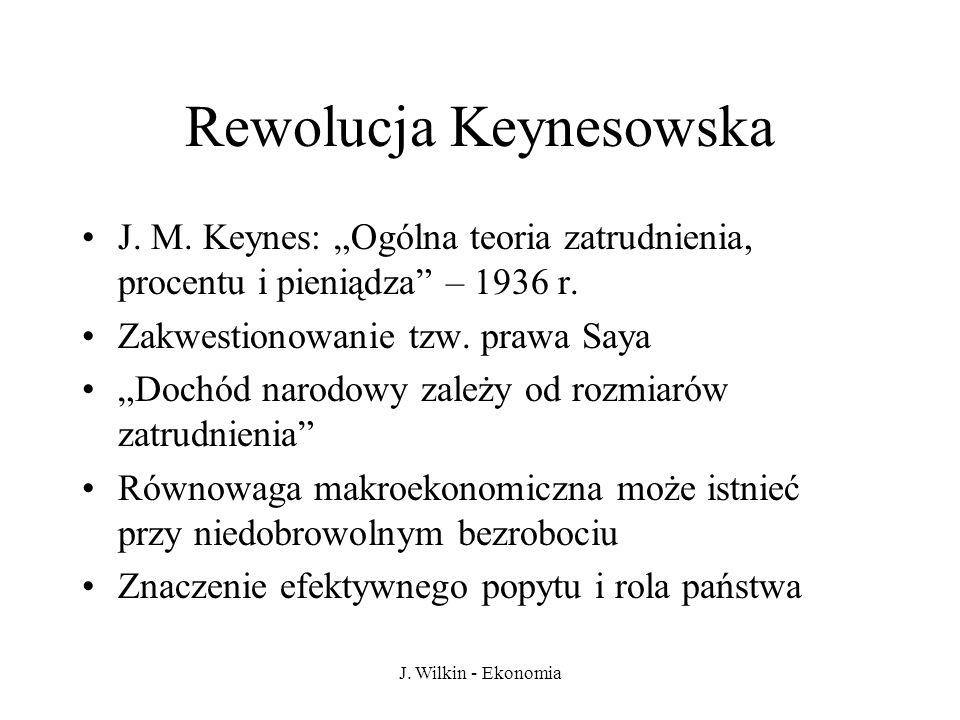 J. Wilkin - Ekonomia Rewolucja Keynesowska J. M. Keynes: Ogólna teoria zatrudnienia, procentu i pieniądza – 1936 r. Zakwestionowanie tzw. prawa Saya D