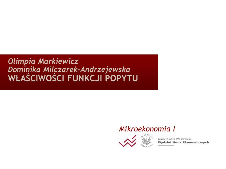Olimpia Markiewicz Dominika Milczarek-Andrzejewska WŁAŚCIWOŚCI FUNKCJI POPYTU Mikroekonomia I