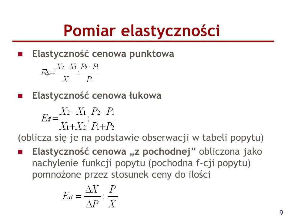 9 Pomiar elastyczności Elastyczność cenowa punktowa Elastyczność cenowa łukowa (oblicza się je na podstawie obserwacji w tabeli popytu) Elastyczność c