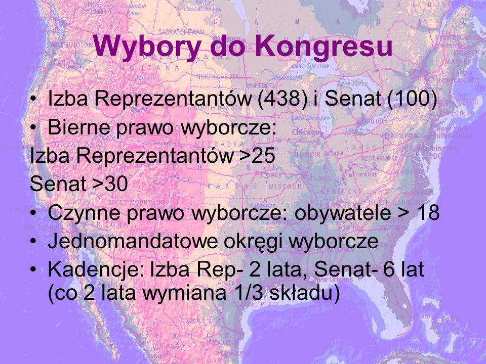 Wybory do Kongresu Izba Reprezentantów (438) i Senat (100) Bierne prawo wyborcze: Izba Reprezentantów >25 Senat >30 Czynne prawo wyborcze: obywatele > 18 Jednomandatowe okręgi wyborcze Kadencje: Izba Rep- 2 lata, Senat- 6 lat (co 2 lata wymiana 1/3 składu)