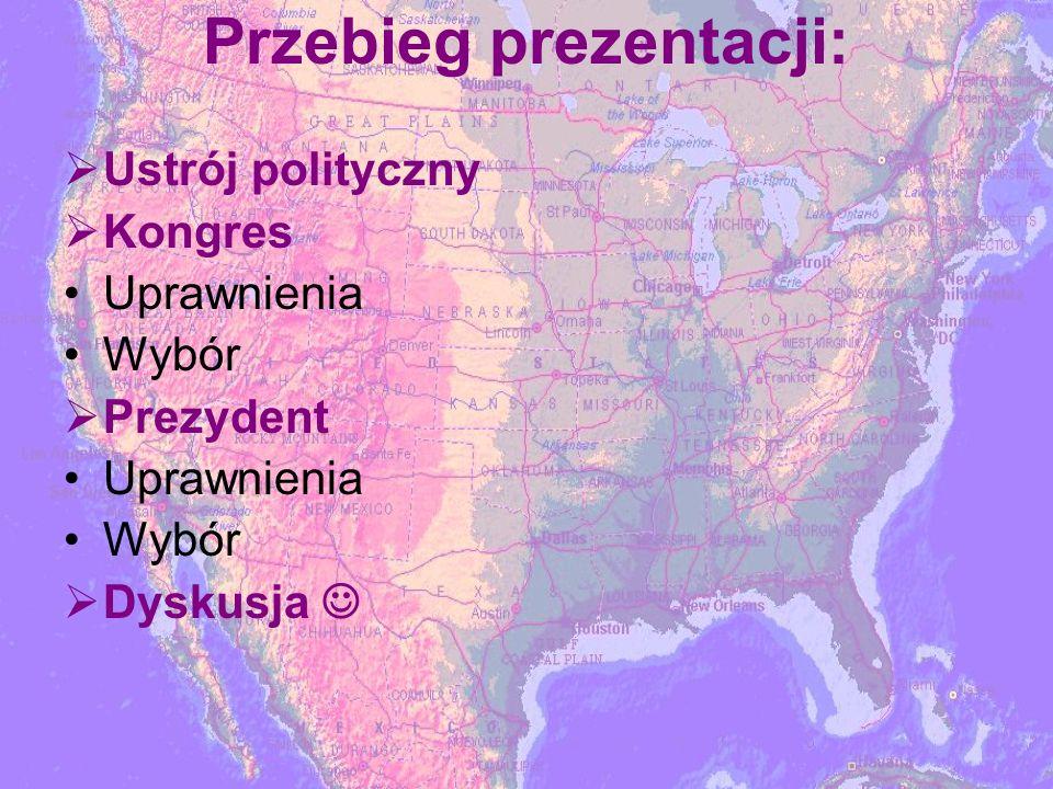 Przebieg prezentacji: Ustrój polityczny Kongres Uprawnienia Wybór Prezydent Uprawnienia Wybór Dyskusja