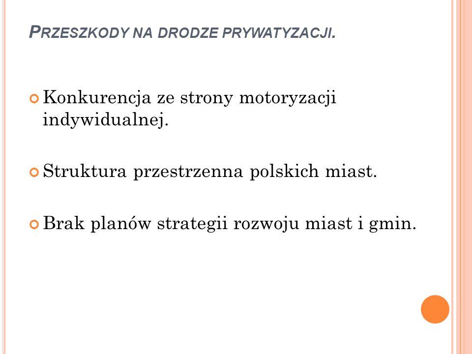 P RZESZKODY NA DRODZE PRYWATYZACJI. Konkurencja ze strony motoryzacji indywidualnej. Struktura przestrzenna polskich miast. Brak planów strategii rozw