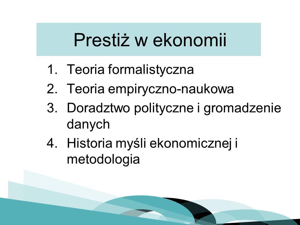 Prestiż w ekonomii 1.Teoria formalistyczna 2.Teoria empiryczno-naukowa 3.Doradztwo polityczne i gromadzenie danych 4.Historia myśli ekonomicznej i metodologia