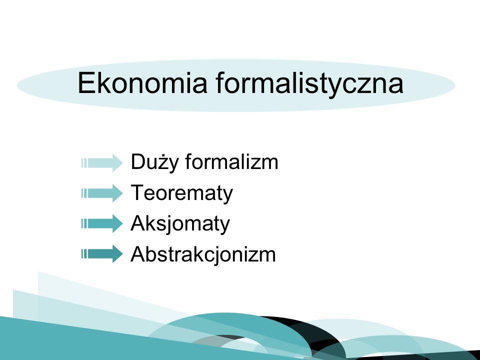 Duży formalizm Teorematy Aksjomaty Abstrakcjonizm Ekonomia formalistyczna