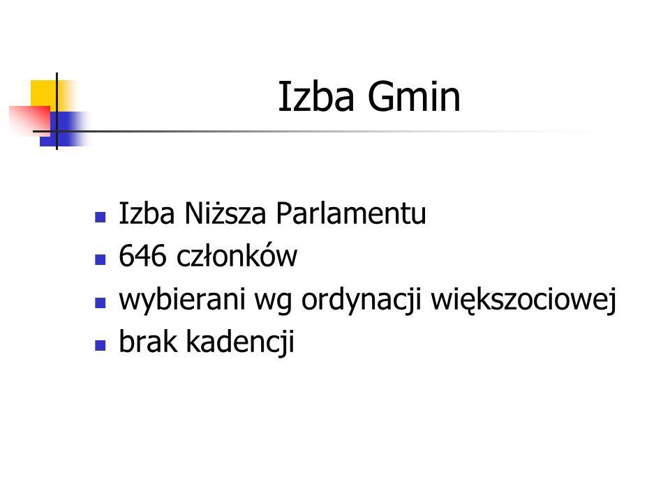 Izba Gmin Izba Niższa Parlamentu 646 członków wybierani wg ordynacji większociowej brak kadencji