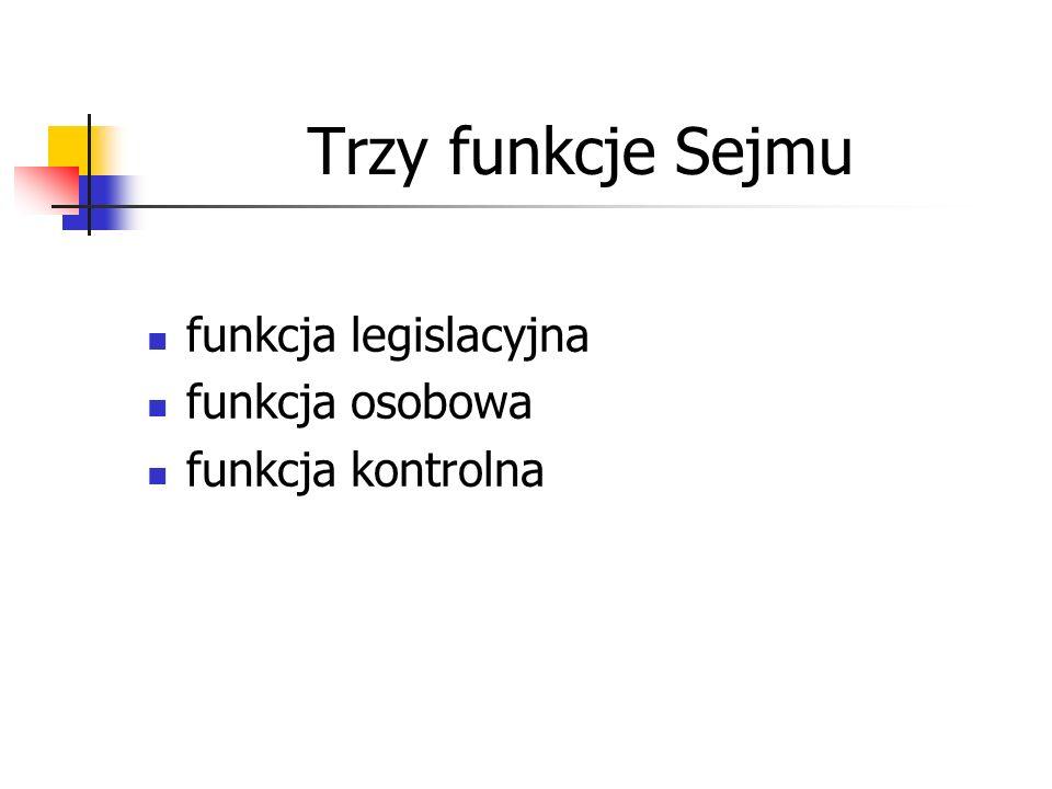 Trzy funkcje Sejmu funkcja legislacyjna funkcja osobowa funkcja kontrolna
