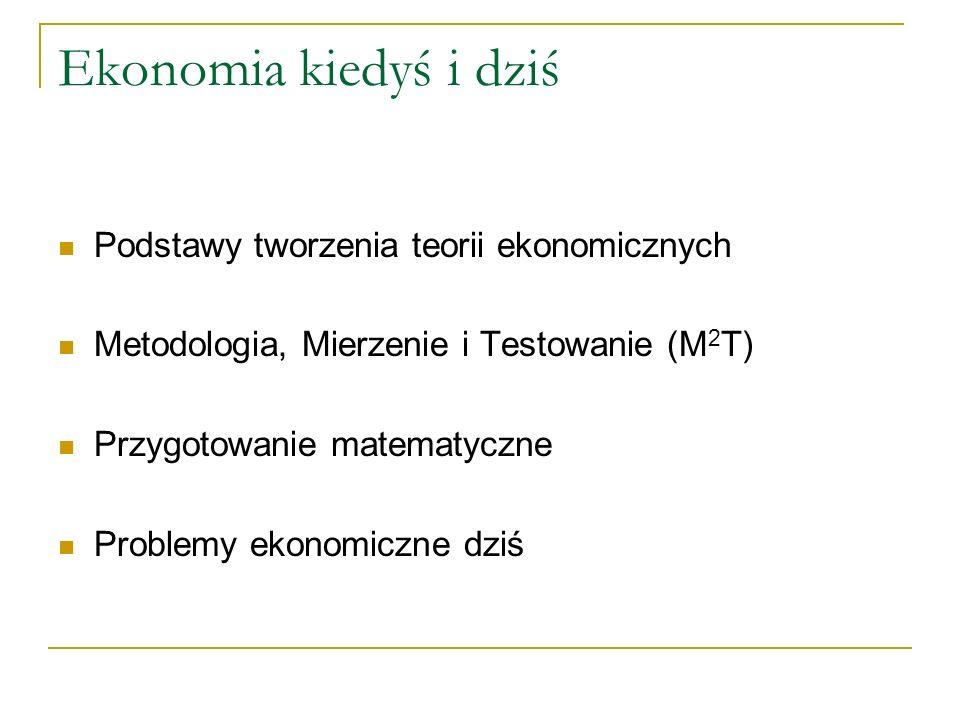 Ekonomia kiedyś i dziś Podstawy tworzenia teorii ekonomicznych Metodologia, Mierzenie i Testowanie (M 2 T) Przygotowanie matematyczne Problemy ekonomiczne dziś