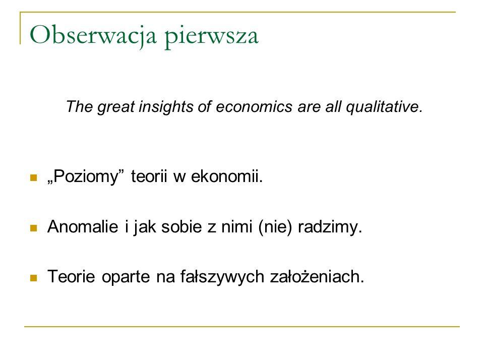 Obserwacja pierwsza Poziomy teorii w ekonomii.Anomalie i jak sobie z nimi (nie) radzimy.