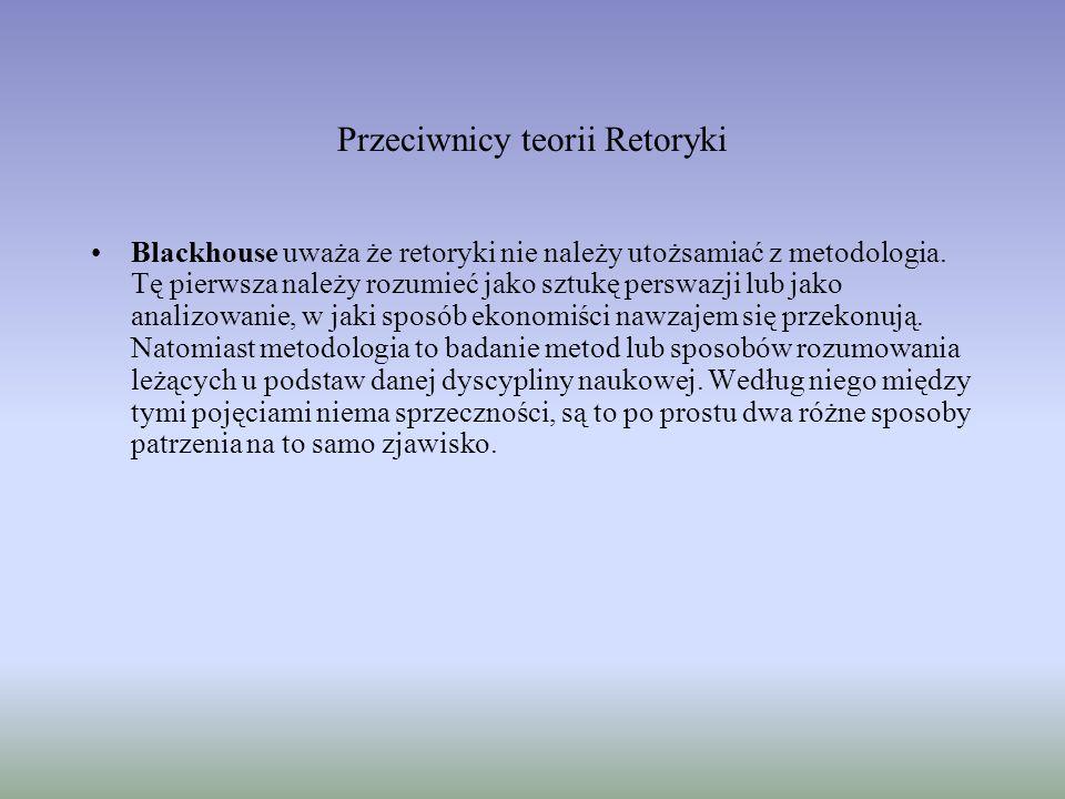 Przeciwnicy teorii Retoryki Blackhouse uważa że retoryki nie należy utożsamiać z metodologia.