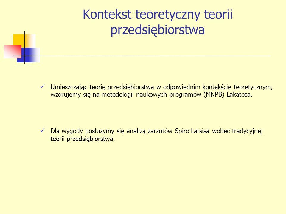 Kontekst teoretyczny teorii przedsiębiorstwa Umieszczając teorię przedsiębiorstwa w odpowiednim kontekście teoretycznym, wzorujemy się na metodologii naukowych programów (MNPB) Lakatosa.