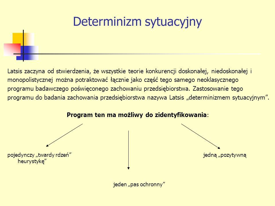 Determinizm sytuacyjny Latsis zaczyna od stwierdzenia, że wszystkie teorie konkurencji doskonałej, niedoskonałej i monopolistycznej można potraktować łącznie jako część tego samego neoklasycznego programu badawczego poświęconego zachowaniu przedsiębiorstwa.