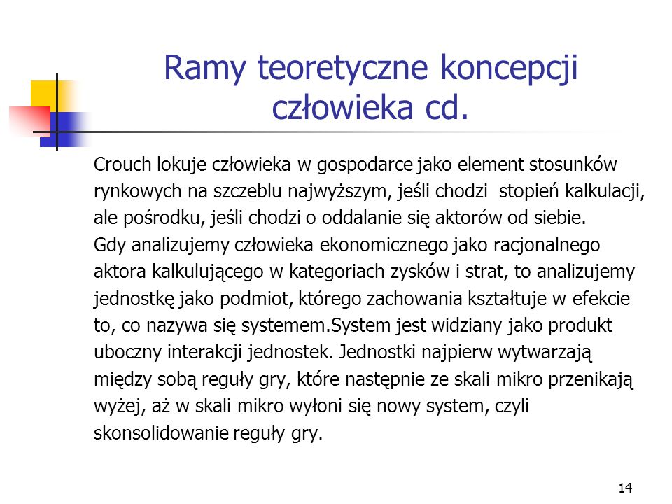 14 Ramy teoretyczne koncepcji człowieka cd.