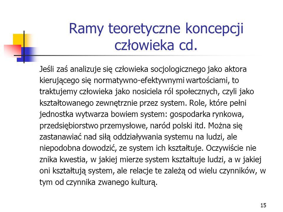 15 Ramy teoretyczne koncepcji człowieka cd.