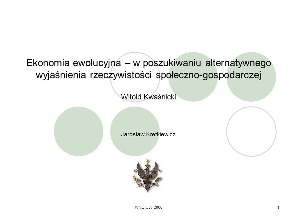WNE UW 20061 Ekonomia ewolucyjna – w poszukiwaniu alternatywnego wyjaśnienia rzeczywistości społeczno-gospodarczej Witold Kwaśnicki Jarosław Kretkiewi