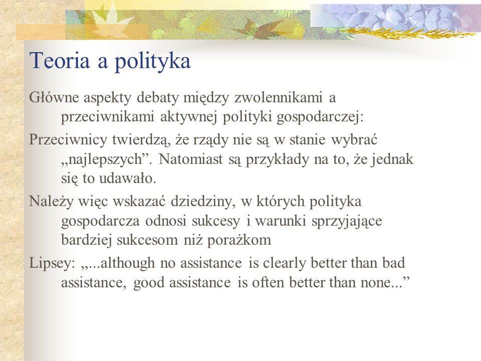 Teoria a polityka Główne aspekty debaty między zwolennikami a przeciwnikami aktywnej polityki gospodarczej: Przeciwnicy twierdzą, że rządy nie są w stanie wybrać najlepszych.