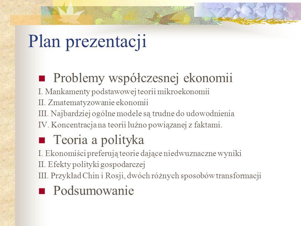 Plan prezentacji Problemy współczesnej ekonomii I.