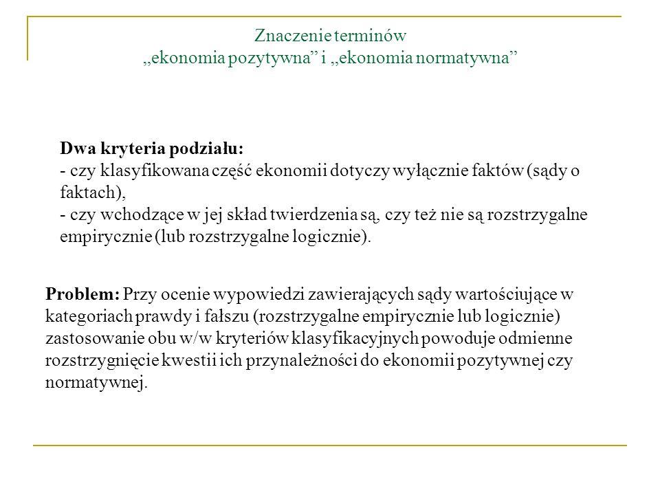 Cztery różne warianty klasyfikacji ekonomii na ekonomię pozytywną i ekonomię normatywną: Stanowisko 1.