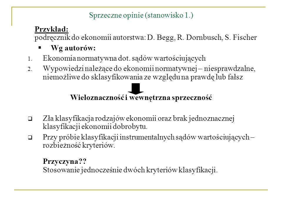 Sprzeczne opinie (stanowisko 1.) Przykład: podręcznik do ekonomii autorstwa: D. Begg, R. Dornbusch, S. Fischer Wg autorów: 1. Ekonomia normatywna dot.