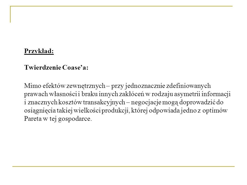 Przykład: Twierdzenie Coasea: Mimo efektów zewnętrznych – przy jednoznacznie zdefiniowanych prawach własności i braku innych zakłóceń w rodzaju asymet