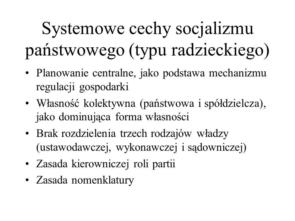 Systemowe cechy socjalizmu państwowego (typu radzieckiego) Planowanie centralne, jako podstawa mechanizmu regulacji gospodarki Własność kolektywna (pa
