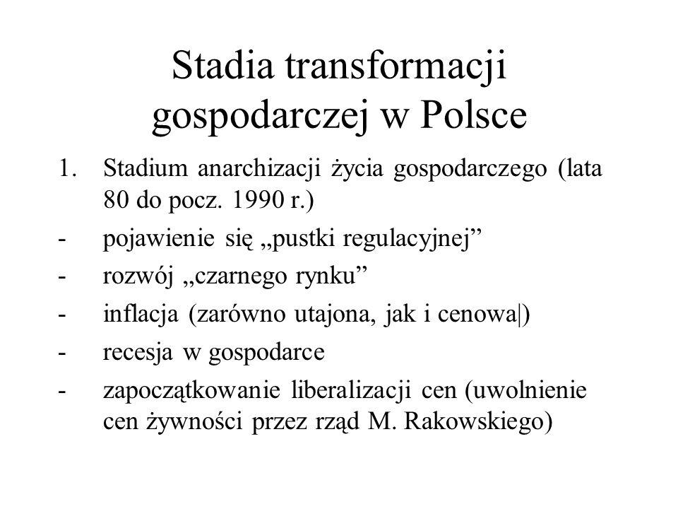 Stadia transformacji gospodarczej w Polsce 1.Stadium anarchizacji życia gospodarczego (lata 80 do pocz. 1990 r.) -pojawienie się pustki regulacyjnej -